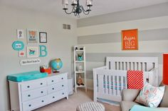 Orange baby room ideas fascinating blue unique aqua and grey nursery wallpaper designs . Aqua Nursery, Boy Nursery Colors, Baby Room Colors, Nursery Room, Nursery Decor, Nursery Ideas, Room Ideas, Wall Decor, Decor Ideas