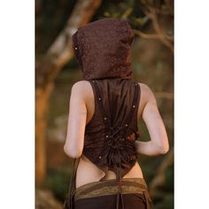 Gaïa Vest (Brown) Gypsy Festival Boho Style Corset Back Crop Burlesque... ($69) ❤ liked on Polyvore featuring outerwear, vests, tops, black, women's clothing, bohemian vest, hooded vests, gypsy vest, steampunk waistcoat and waistcoat vest