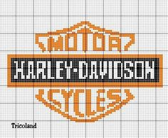 Cross stitch chart for Harley Davidson. Is it the Harley that makes men sexy, the men that make Harleys sexy, or is it that a lot of sexy men ride Harley Davidson? Graph Crochet, Crochet Cross, Harley Davidson, Loom Patterns, Beading Patterns, Crochet Patterns, Cross Stitch Charts, Cross Stitch Patterns, Cross Stitching