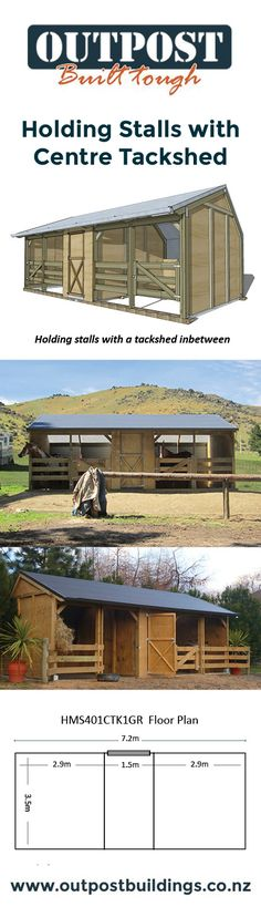 A great horse stable design with 2 separate holding stalls and a tack shed inbetween!