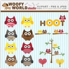 Cute Owl Clipart  INSTANT DOWNLOAD  Digital by WoofyWorldStudio, $4.00