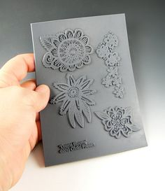 See Christi Friesen's new line of texture stamps Drama Blooms an Unmounted stamp great for polymer by LindasArtSpot, $13.25