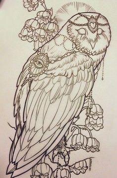 Эскиз совы с цветами