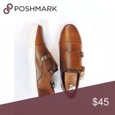 "HP 🎉 NIB Crevo Sneakers - double monk strap Brand new in box, these ""Lawless"" fashion sneakers have leather uppers and come in a chestnut color.  The brown leather coloration has a little over spray on the edge of the white sole, pictured. Crevo Shoes Sneakers"