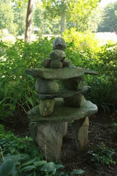 Stacking stones as art, Bedrock Gardens, Lee, New Hampshire. Photo: @Michelle Gervais, Fine Gardening Magazine
