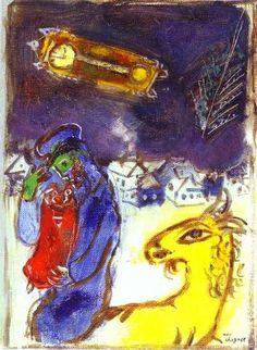 Acheter Tableau 'Un Juif avec la Torah' de Marc Chagall - Achat d'une reproduction sur toile peinte à la main , Reproduction peinture, copie de tableau, reproduction d'oeuvres d'art sur toile