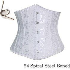 24 Spiral Steel Boned White Jacquard Corset by MayaDesignFinland