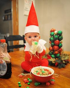 We are doing this next year with our newborn. Tonight was the first night the elf ate dinner with us. He never broke eye contact with me the entire dinner. I asked him repeatedly to get off the table but he would just throw noodles at me.  #rocktheelf #elfontheshelf