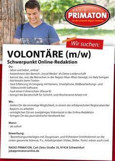RADIO PRIMATON sucht für die schönste Region Frankens Volontäre (m/w) Schwerpunkt Online-Redaktion.