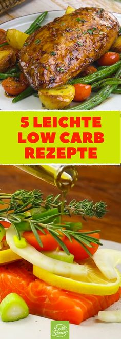 5 schmackhafte Rezepte, die wenig Kohlenhydrate haben, super! #rezept #rezepte #low-carb #kohlenhydratarm #lachs #hühnchen #zucchini #olivenöl