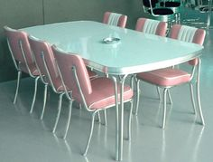 Pink dinette set #vintage #kitchen #chairs #table