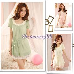 Women'S Chiffon Sleeve Short Lace Beaded Mini With Belt Casual Dresses C1MY | eBay
