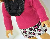 American Girl Doll Clothes Black, Gray and Pink Cheetah Print  Mini Skirt with Pink T-shirt and Infinity Scarf 18 inch