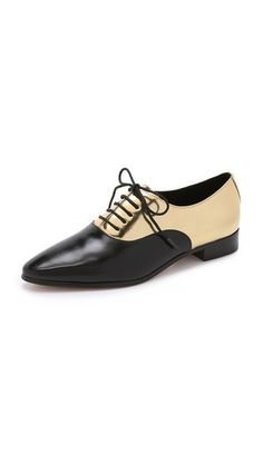 Metallic panels give these leather Michael Kors Collection shoes a glamorous finish.   Michael Kors Collection Lottie Oxfords