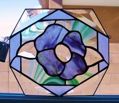 Stained Glass Purple/Green Flower And Bevel Accents    CustomMade by Krysia Napiorkowski