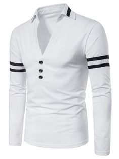 To find out about the Men Varsity Striped V Neck Polo Shirt at SHEIN, part of our latest Men Polo Shirts ready to shop online today! African Dresses Men, African Clothing For Men, African Shirts, African Men Fashion, Mens Clothing Styles, Men's Clothing, Upcycled Clothing, Stylish Shirts, Casual Shirts