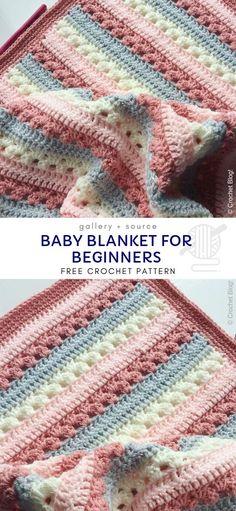 Crochet Baby Blanket Free Pattern, Crochet For Beginners Blanket, Afghan Crochet Patterns, Free Crochet, Easy Crochet Baby Blankets, Crochet Baby Blanket Patterns, Crochet Baby Stuff, Crotchet Baby Blanket, Tunisian Baby Blanket