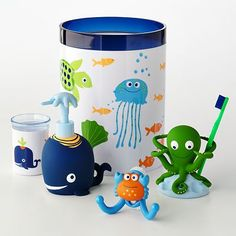 Jumping Beans Fish Tales Bath Accessories. Love the octopus toothbrush holder!