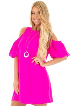 0691d8648374 Lime Lush Boutique - Neon Pink Cold Shoulder Dress with Bubble Sleeves,  $59.99 (https
