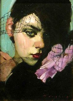Malcolm Liepke - Flowers & Lace, 2011, oil on canvas, 11x8 in
