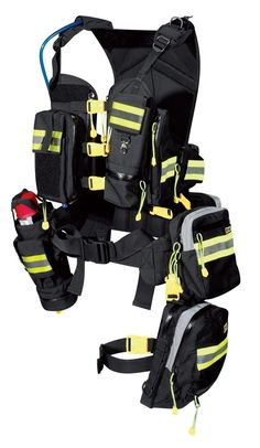 A prepared swim vest Firefighter Tools, Thigh Bag, Police Truck, Tac Gear, Tactical Equipment, Tactical Vest, Emergency Response, Search And Rescue, Emergency Vehicles