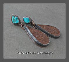 Castle Dome Turquoise Hand Tooled Leather Copper Metalwork Southwest Earrings by AztecaDesignsBoutique, $95.00 USD