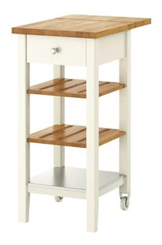 STENSTORP Kitchen Cart IKEA Two Adjustable Shelves In Solid Oak With Groves  To Keep Bottles In Place.   Perfect For A Small Kitchen