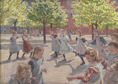 'Hint Me' - using Twitter to discuss or find out more about selected works at the Danish National Museum (SMK)   Artwork: Peter Hansen, Legende børn. Enghave Plads, 1907-08