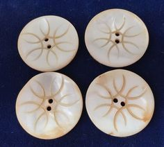 Four Vintage Large Pearl Buttons Hand Carved Etched MOP Natural Shell