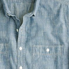 Chambray short-sleeve shirt