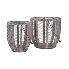 Birkley Farm House Baskets - Set of 2 - Wrought iron wire wraps a pair of farm house baskets, perfect for picking fruits and vegetables and gathering fresh eggs.