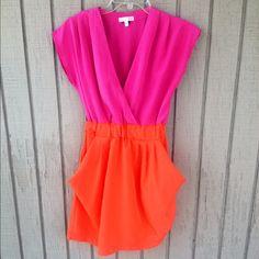 "Spotted while shopping on Poshmark: ""Colorblock Dress w/ pockets (Orange & Pink)""! #poshmark #fashion #shopping #style #Gianni Bini #Dresses & Skirts"