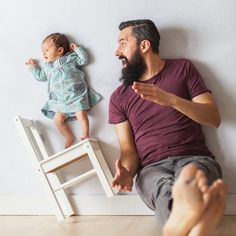 This Newborn Photo Shoot Completely Defies the Laws of Physics: Newborn photo shoots are getting more and more creative, and this one by Ania Waluda and Michal Zawer — photographers, bloggers, and parents — is definitely unlike any you've ever seen before.