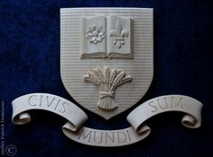 Peters family coat of arms carved in wood   Family crest carved in wood   CIVIS MUNDI SUM   Heraldic woodcarving   http://www;patrickdamiaens.be