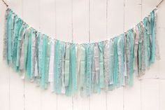 Burlap, Lace and Linen Rag Tie Banner - Teal and Gray 6th Birthday Parties, Mom Birthday, Diy Garland, Garlands, Teal And Grey, Gray, Girl Shower, Baby Shower, Burlap Banners