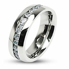 Stainless Steel Eternity Clear Gem CZ Stones Wedding Band Ring Size 5 - 13 R125 blue palm jewelry. $19.99. Shape: Eternity. Comfort Fit. Classic, Lightweight. Finish: High Polished