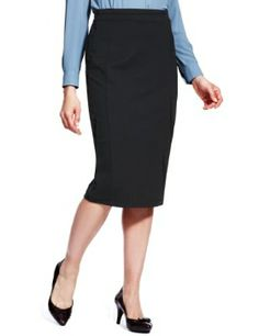 Marks and Spencer's pencil tweed skirt with leather trim   bord 5 ...