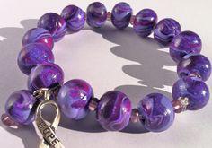 Purple polymer clay art bead bracelet with Hope charm