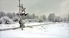 CN Railroad Crossing at winter time. Houston, BC. Travel Houston British Columbia