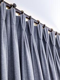 Triple pleat wool curtains on a bronze pole Bronze, Curtains, Wool, House, Home Decor, Homemade Home Decor, Haus, Interior Design, Home Interiors