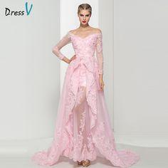 by Dress V Dressv rosa Con Cuello En V appliques Una Línea de vestido de flores de perlas de encaje fuera del hombro formal largo de noche vestido de fiesta vestido de noche
