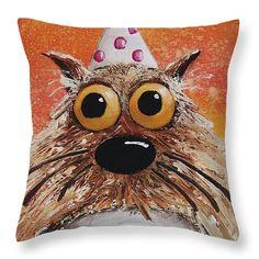 Catitude Throw Pillow by Lucia Stewart