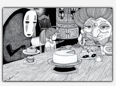 Spirited away - handmade illustration on poster door LaurenInkDots op Etsy