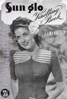 1940s Knitting Patterns -  Australian Sun Glo Knitting Pattern Booklet No - 58   PDF COPY