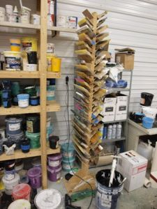 Squeegee storage: A free-standing double-sided squeegee 'tree' - would work if you have limited wall space.