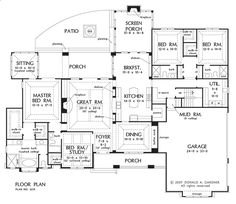 Would want one bath for 2nd & 3rd bedroom to share.  4th bedroom and full bath in basement.  First Floor Plan of The Birchwood - House Plan Number 1239