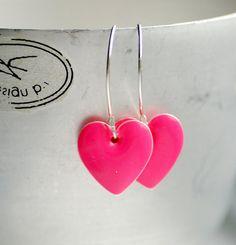 Pink Heart Earrings Enameled Earrings Sterling by WildWomanJewelry