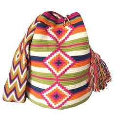 $90.00 Retail Price LARGE Mochila Wayuu Bag | RETAIL + WHOLESALE | Handmade and Fair Trade Wayuu Mochila Bags LOMBIA & CO. | www.LombiaAndCo.com Mochila Crochet, Knit Vest Pattern, Tapestry Crochet, Crochet Accessories, Geometric Designs, Diy Projects To Try, Retail Price, Fair Trade, Karl Lagerfeld