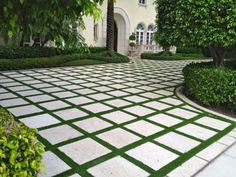 Fancy Driveway Idea: Broken Up with Grass