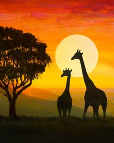Learn to Paint Safari Wild tonight at Paint Nite! Our artists know exactly how t. - Learn to Paint Safari Wild tonight at Paint Nite! Our artists know exactly how to teach painters of - Canvas Painting Tutorials, Easy Canvas Painting, Painting & Drawing, Canvas Art, Sunset Painting Easy, Simple Acrylic Paintings, Giraffe Painting, Africa Painting, African Art Paintings